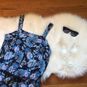 LOFT Blue Pineapple Floral Jumpsuit